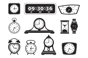 Monochrome illustrations of different clocks. Alarm and bells