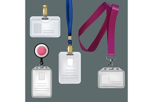 Illustrations of realistic templates of personal badges, security plastic cards
