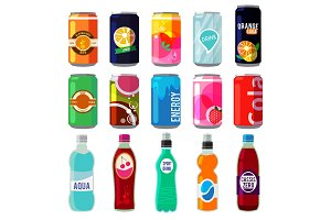 Illustration of different drinks in metallic cans and bottles. Vector pictures in retro style