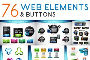 Set of web elements and buttons