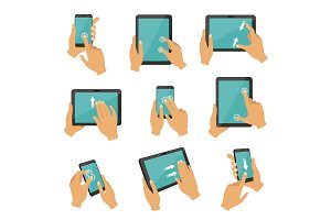 Illustrations of gestures to control different devices tablets and smartphones