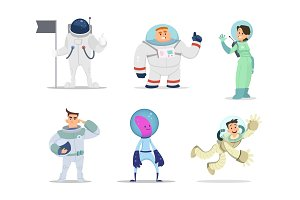 Male and female astronauts. Cartoon characters in action poses