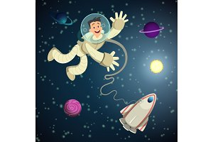 Astronaut in open space with shuttle and some planets. Vector cartoon background