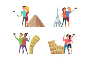 Happy couples make selfie near landmarks. Vector characters in cartoon style