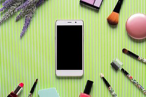 Make up accessories and smartphone