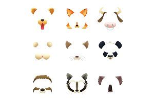 Masks of funny animals. Ears and nose. Vector pictures for photo or video filters