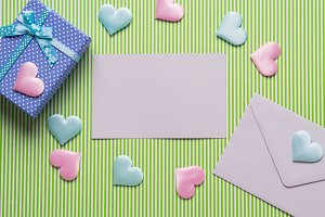 Blank card, hearts and pastel gift box