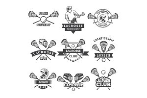 Vector logos or labels for lacrosse team in sport college