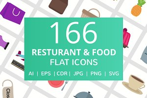 166 Restaurant & Food Flat Icons