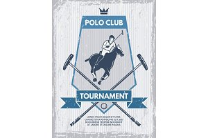 Retro poster of polo club. Vector template with place for your text