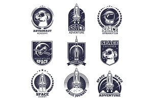 Monochrome labels for astronauts. Vector badges templates with place for your text