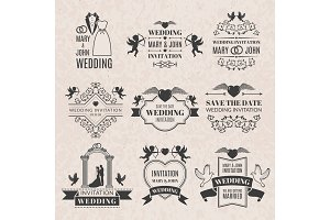 Wedding labels set in victorian style. Monochrome pictures set for badges or logos