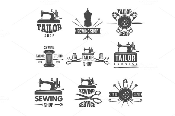 Different labels or logos set for tailor shop