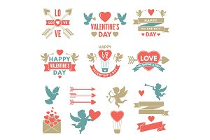 Different symbols and labels for day of st valentine