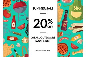 Vector barbecue or grill elements horizontal sale background