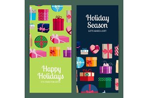 Vector vertical banner templates with gift boxes and place for text