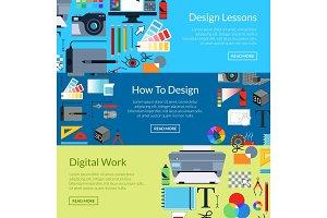 Vector digital art design horizontal banner templates