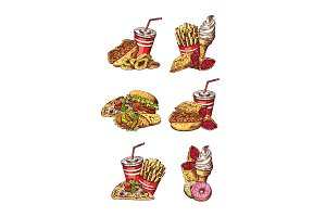 Vector set of hand drawn colored fast food elements