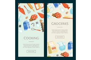 Vector cooking ingridients or groceries vertical banner templates
