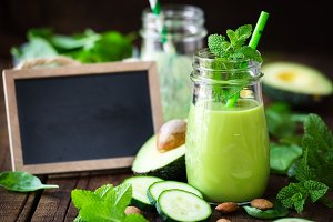Green avocado cucumber smoothie