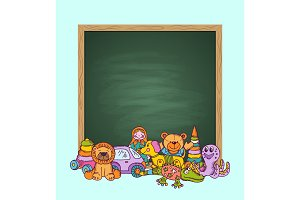 Vector green chalkboard illustration with place for textand pile of kid toys hand drawn and colored