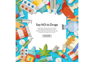 Vector drugs types background with white square and place for text