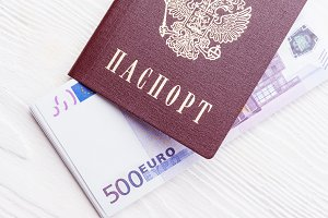 Russian passport with money