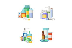 Vector cartoon medicines, potions and pills piles set