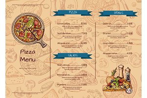 Vector italian pizza restaurant menu template with hand drawn colored elements