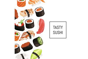Vector cartoon sushi types background with place for text