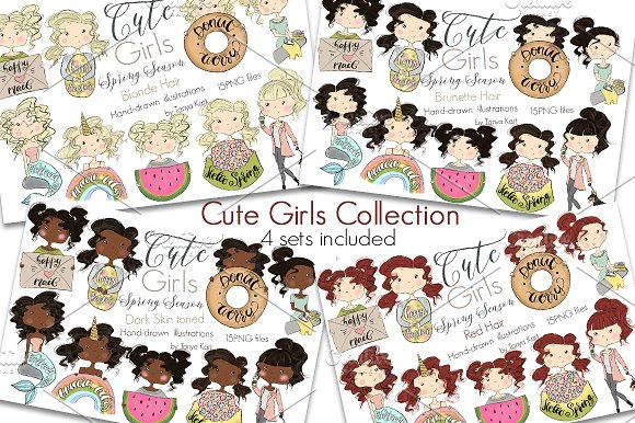 Collection of 4 Sets Girls Spring