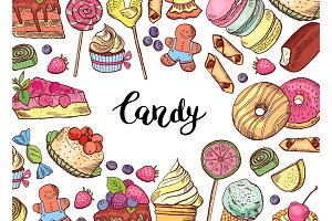 Vector hand drawn colored sweets horizontal background illustration