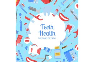 Vector flat style teeth hygiene background illustration with plain circle in center with place for text