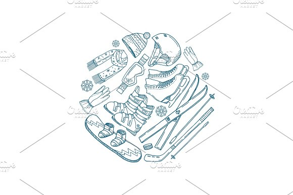 Vector hand drawn winter sports equipment circle concept