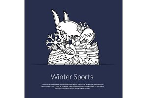 Vector hand drawn winter sports equipment and attributes in pocket illustration with place for text