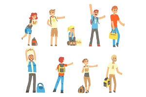 Young people standing with a sign hitchhiking and raised their thumb up set, travelling by autostop cartoon vector Illustrations