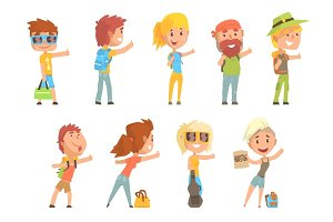 Young tourist people wearing comfy travel outfit standing with a sign hitchhiking, travelling by autostop cartoon vector Illustrations