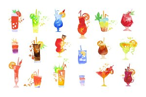 Cocktails set, summer drinks watercolor vector Illustrations