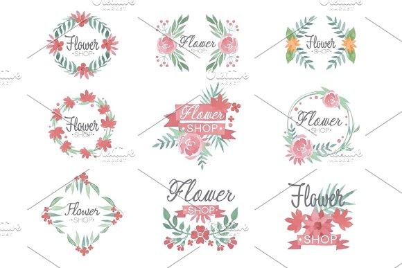 Set of flower shop logo design, colorful watercolor vector Illustrations