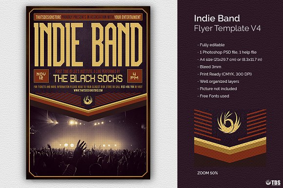 Indie Band Flyer Template V4 Flyer Templates Creative Market