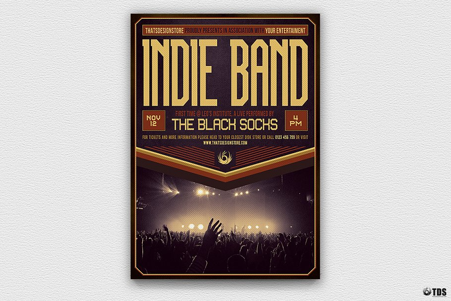 Indie Band Flyer Template V4 ~ Flyer Templates ~ Creative Market 0af0392814c