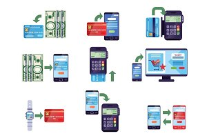 Payment methods in retail and online purchases, online payment concept vector Illustrations