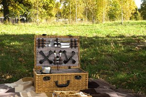 Wooden basket for picnic.