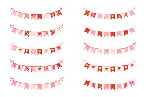 Cute love bunting clipart Valentine