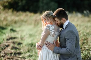 Beautiful wedding couple poses