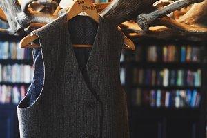 Grey waistcoat for a gentelman hangs