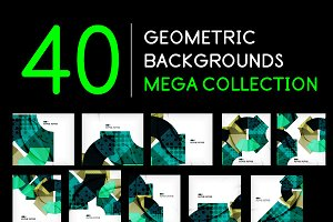 40 geometric backgrounds set
