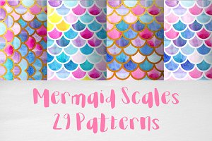 Watercolor mermaid scales patterns