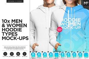 10xWomen & Men Hoodie Types Mock-ups