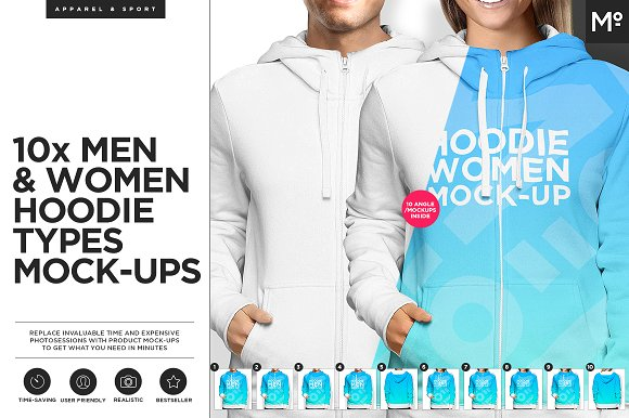 Download 10xWomen & Men Hoodie Types Mock-ups
